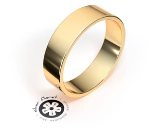 Men's Gold Wedding Band, 6mm Wide Flat Band, Solid Yellow Gold Ring (10K, 14K, 18K), Plain, Wide Band, Simple Wedding Ring
