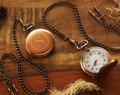 Engraved Pocket Watch Copper - Personalized Groomsmen Gifts - Engraved Wedding Date -Anniversary Gift For Men