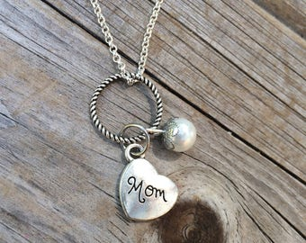 Pearl Mom Necklace, Charm Necklace, Heart Necklace, Necklace, Love Necklace, Gifts for her, Gifts for Mom