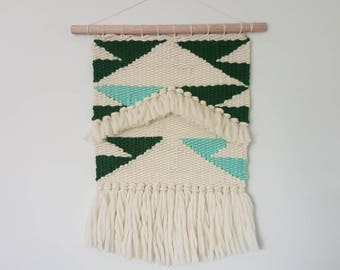 Medium weaved wall hanging in green and cream merino wool/ READY TO SHIP