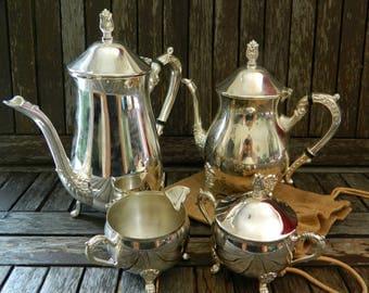 Vintage Victorian Reproduction Silver Plated Four Piece Tea Set - Teapot/Coffeepot/Sugar Bowl + Lid/Milk Jug