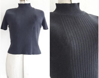 Vintage 90s Charcoal Cropped Sweater, Minimalist sweater, size small