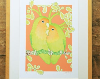 Lovebirds limited edition A3 print