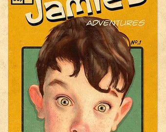 Your own caricature on an adventure comic cover