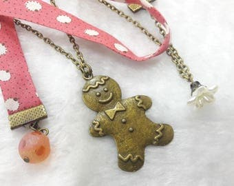 Coral gingerbread snowman Liberty necklace