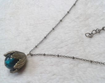 Teal blue glass Flower necklace