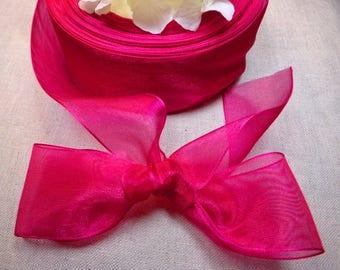L = 4 cm FUCHSIA organza Ribbon 3 meters - wedding / baptism /communion / holidays