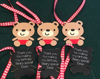 12 Teddy Bear Picnic Party Tags