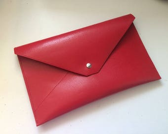 Red leather  Clutch Bag / wedding clutch wristlets  / red leather purse / hand bag