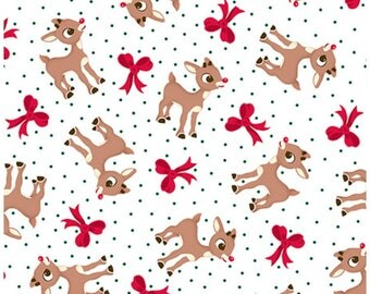 Fun With Rudolph And Friends Rudolph Bow Toss in White by Quilting Treasures Rudolph the Red Nose Reindeer Fabric One Continuous Cut