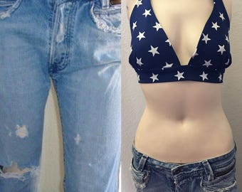 Vintage Diesel ripped Distressed button fly denim high waist frayed Destroyed busted knee WOMEN jeans 28