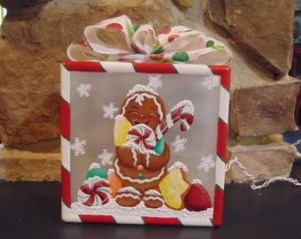 Hand painted gingerbread lighted glass block