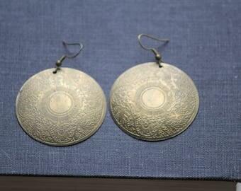 vintage brass earrings, boho earrings, bohemian earrings, dangle earrings, gypsy earrings, bold earrings, statement earrings