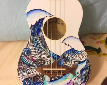 Hand painted ocean ukulele READY TO SHIP!