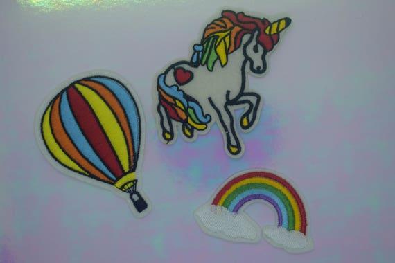 Unicorn, Hot Air Balloon & Rainbow Iron on Patch Set