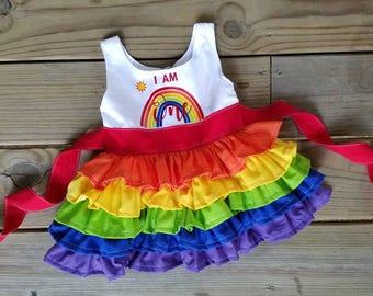1st birthday outfit, 1st birthday rainbow ruffle dress, first birthday, rainbow ruffle dress, 1st birthday