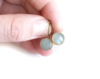 Grey/gold drop earrings • dangle earrings, drop earrings
