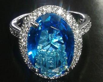 Women  925 Silver Aquamarine White Topaz Ring