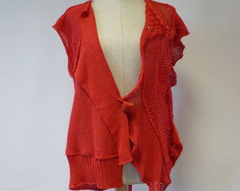 Boho open-work red linen vest, M size. Only one sample.