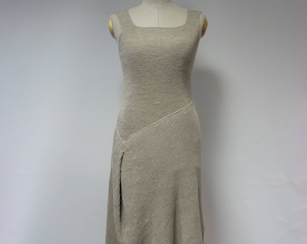 Special price. Casual taupe knitted dress, M size. Made of pure linen, only one sample.