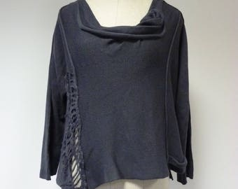 Soft warm smoked pearl woollen sweater, XL size.