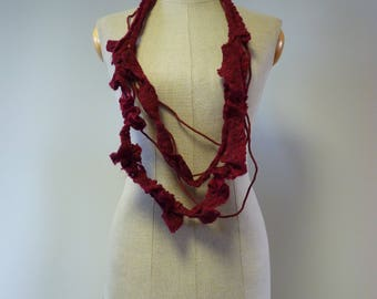Handmade artsy burgundy necklace, made of wool and linen. Perfect for gift.