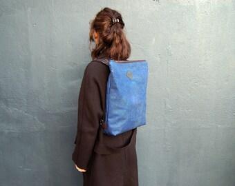 vegan backpack, cork backpack blue, drk-blue backpack, cork bag, vegan bag, cork leather, vegan leather, blue leather