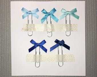 5x Ocean Satin Bow Paperclips