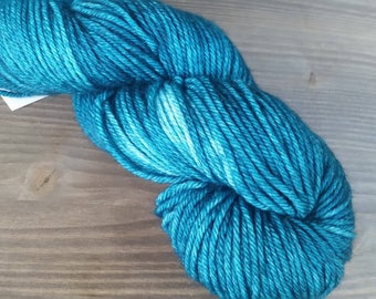 Hand Dyed Yarn, Semi Solid, Worsted Weight, 100% Superwash Merino Wool, Teal Green Blue
