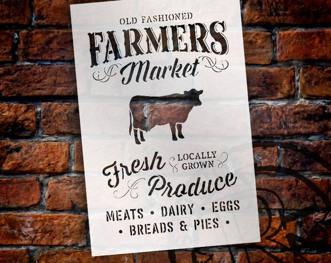Featured listing image: Old Fashioned Farmer's Market - Word Art Stencil - Select Size - STCL1972 - by StudioR12