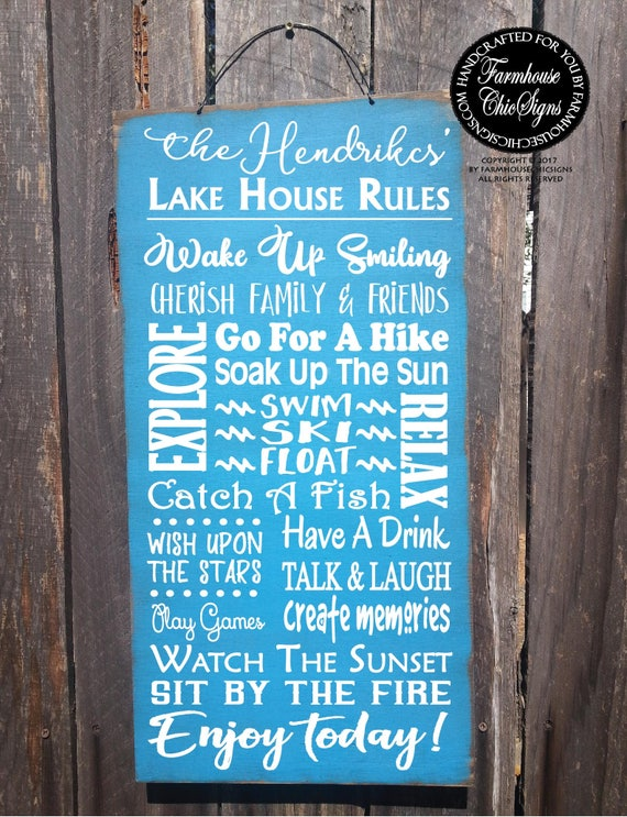 Personalized Lake House Rules Sign