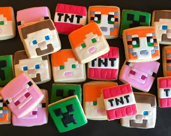 MINECRAFT x12 inspired vanilla sugar cookies CREEPER -stampy cat - TNT birthday party favors video game - alex red knight blue knight pig