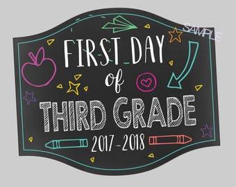 Third Grade First Day Of School Doodle Sign. First Day of School Photo Prop Sign. First and Last Day of School. Instant Digital Download