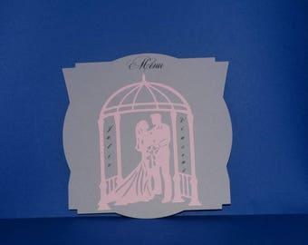 Romantic gazebo married menu card