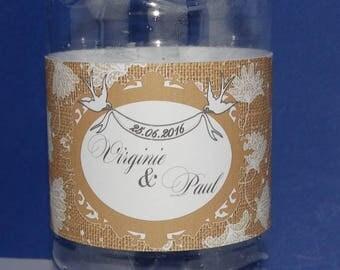 Lace flower water bottle label