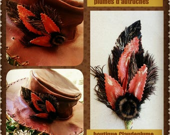 Picket Hat leaf leather, feather