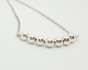 Silver ball bar necklace / bridesmaid bridal  jewelry / minimalist necklace choker