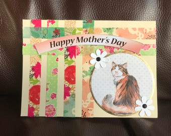 Happy Mother's Day Card, Cat and Flowers, Blank inside for your own Message
