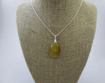 Beautiful Necklace Pear Shape Stripes Agate Pendant #53
