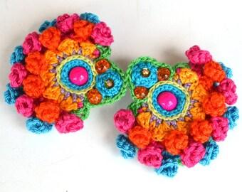 colorful mexican earrings, pom pom earrings, ethnic jewellery, big earrings, large hippie earrings, bold statement earrings,crochet earrings