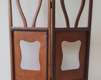 Antique Victorian Child-size Wooden Folding Screen w/ Frame for Artwork/Photos