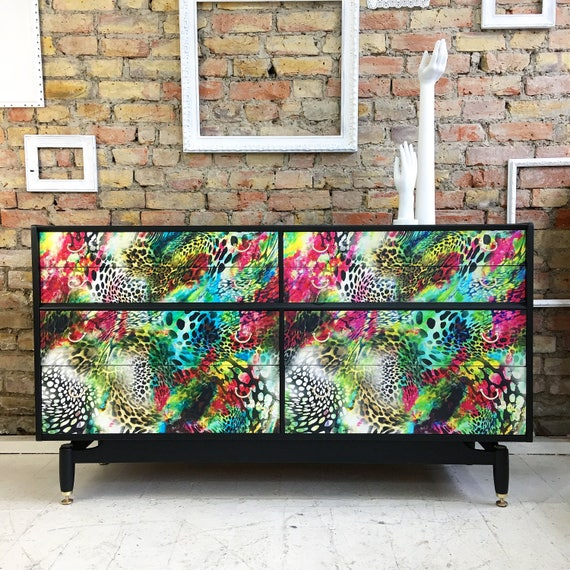 1950's Large Gplan chest of drawers multi colour leopard print
