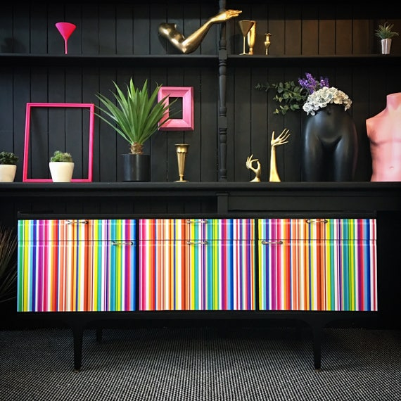 Mid Century sideboard multi coloured stripe