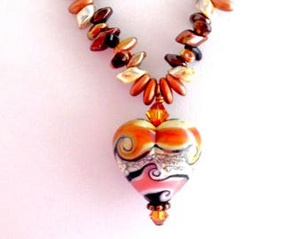 The Desert Heart with Artsian Colored Glass Necklace Acented in Copper