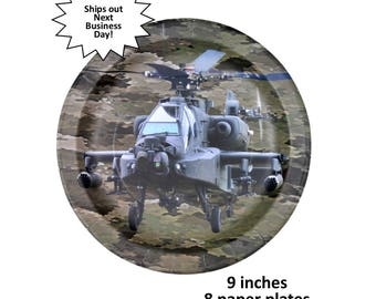 Apache helicopter plates, American heroes, military camo party decorations, fighter pilot retirement, veterans reunion, gamer birthday, boys