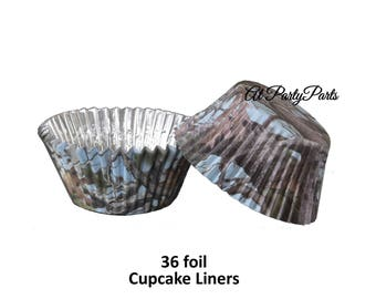 light blue camo cupcake liners, foil cups, camouflage, its a boy, baby shower, gender reveal, outdoors, boys birthday, woodland, nature, DIY