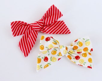 Apple Picking Fabric Hand Tied Hair Bow Hair Clip Set // 4th of July Bows // Summertime Hair Bows // Red Stripes, Apples & Oranges