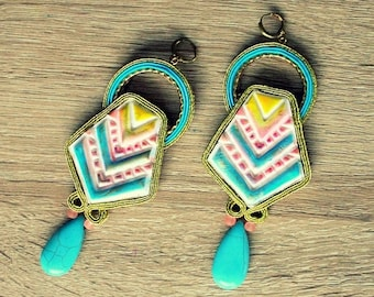 ON SALE Soutache earrings with howlite