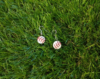 Baseball Earrings- Classic- Round 9/16 inch, Baseball Leather, Metal Back
