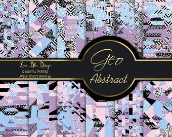 Stylish digital paper, trendy geometric digital papers, abstract patterns, abstract digital paper, seamless backgrounds, modern designs